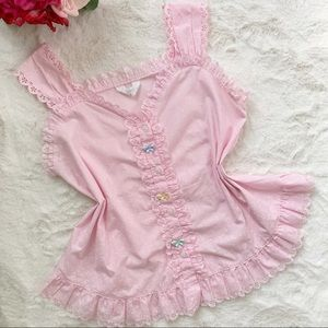 Vtg 80s Pink Fairy Floral Butterfly Sweetheart Top